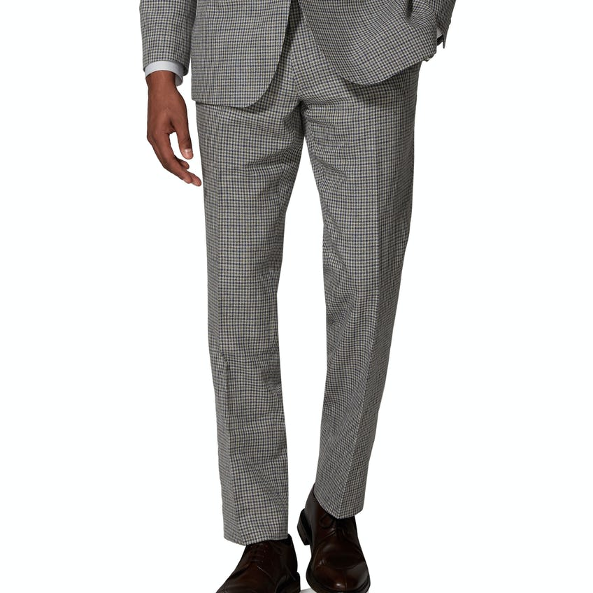 Ravello Italian Summer Slim Fit Grey and Navy Microcheck Trouser 0