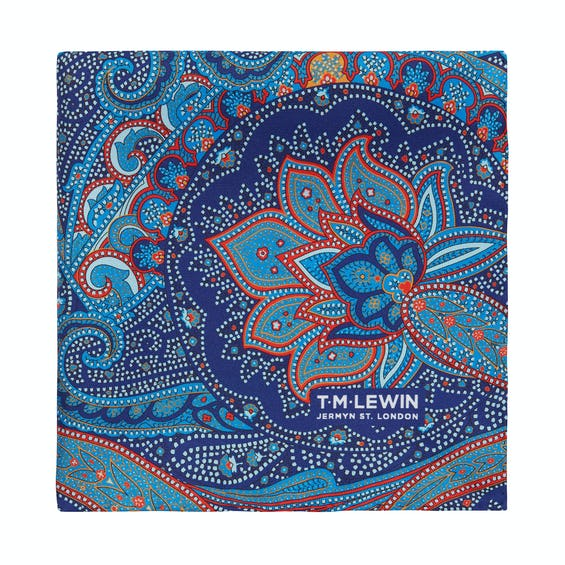 Silk Navy and Red Paisley Pocket Square 0