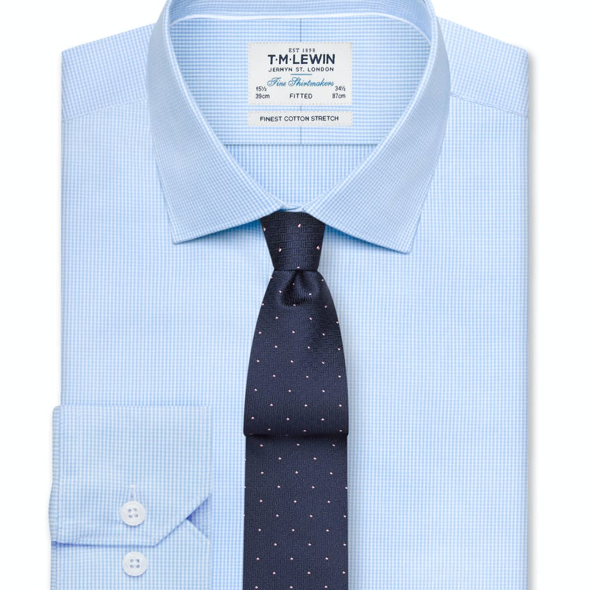 Stretch Fitted Blue Gingham Shirt - Button Cuff 0