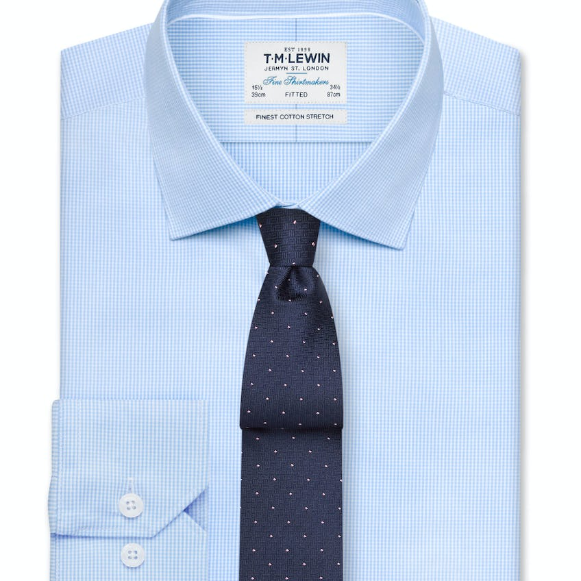 Stretch Fitted Blue Gingham Shirt - Button Cuff