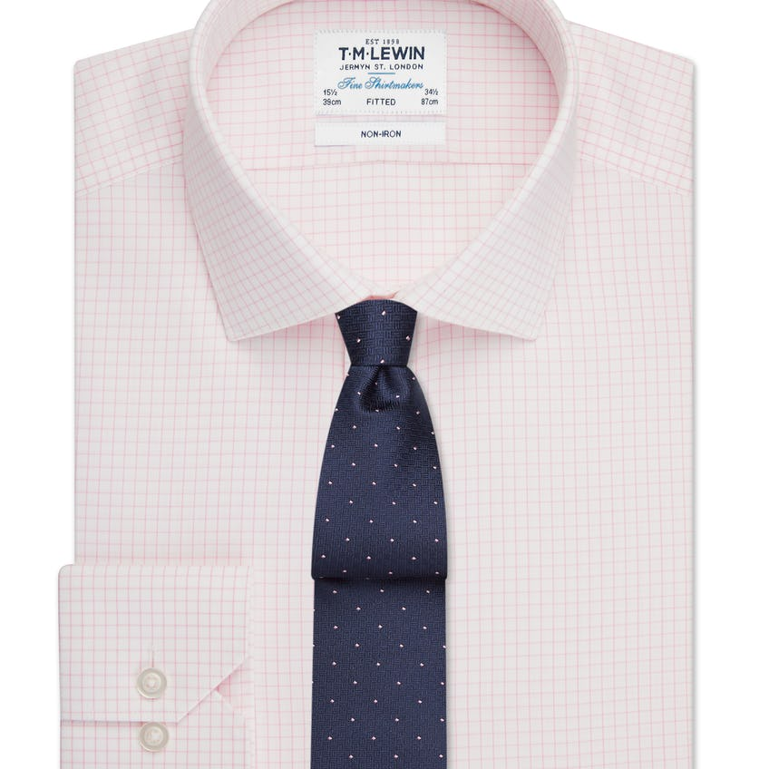Non-Iron Fitted Pink Check Single Cuff Shirt 0