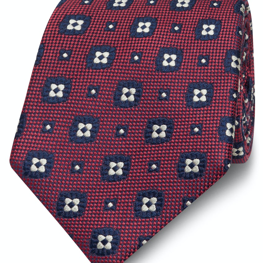 Red and Navy Geometric Flower Silk Wide Tie 0