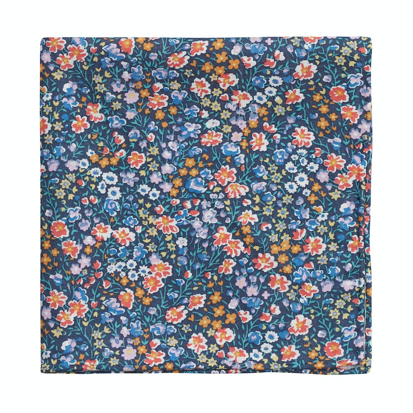 Made with Liberty Fabric Navy Phoebe and Jo Print Pocket Square 0