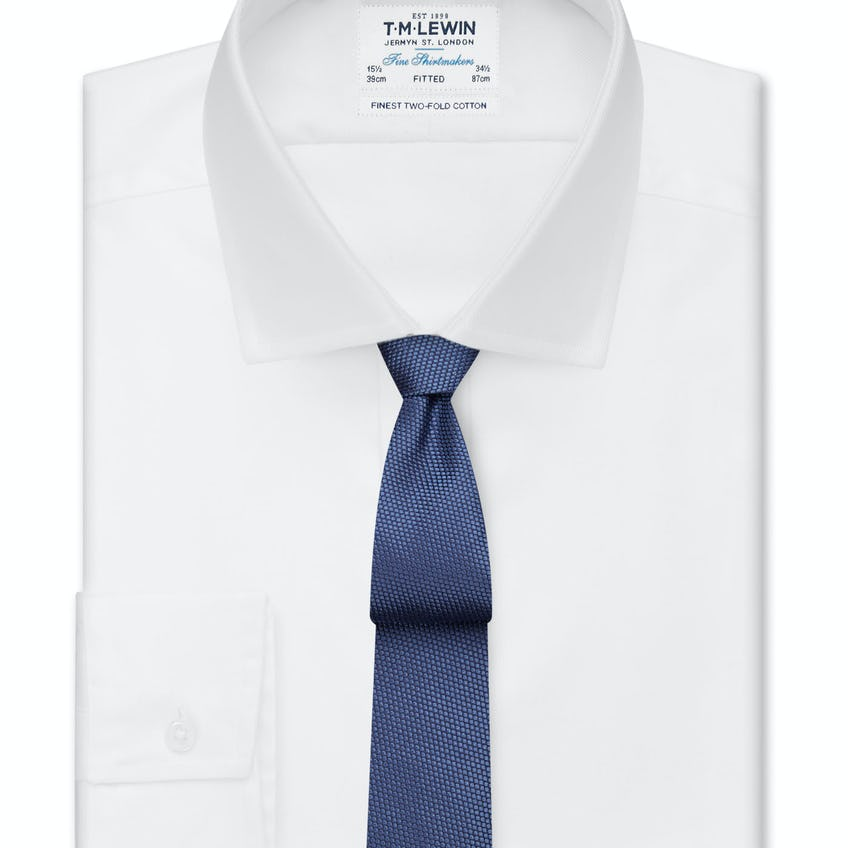 White Twill Fitted Button Cuff Shirt