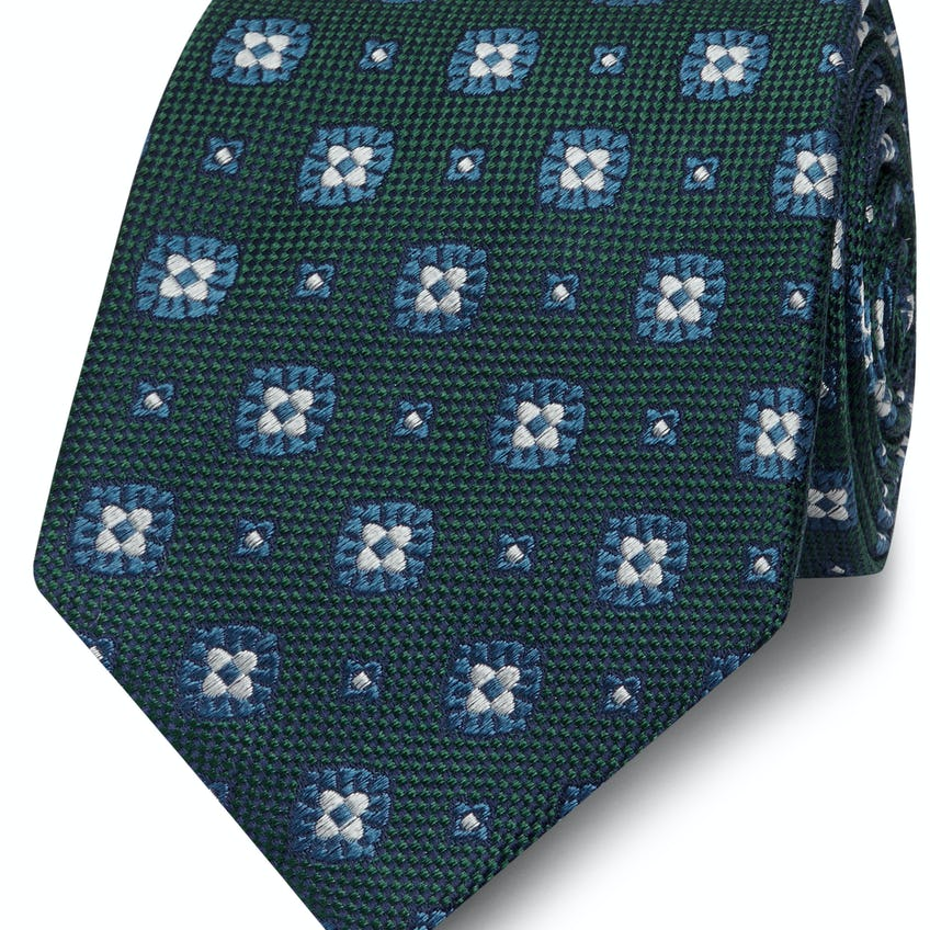 Green and White Geometric Flower Silk Wide Tie 0