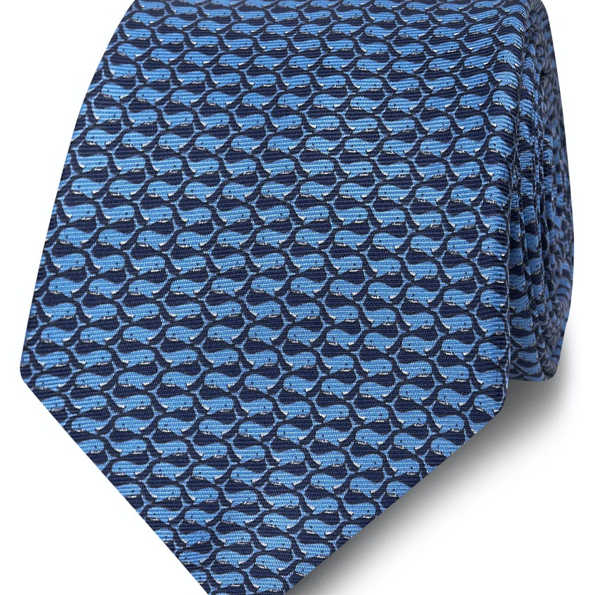 Wide Navy and Blue Whale Print Silk Tie 0