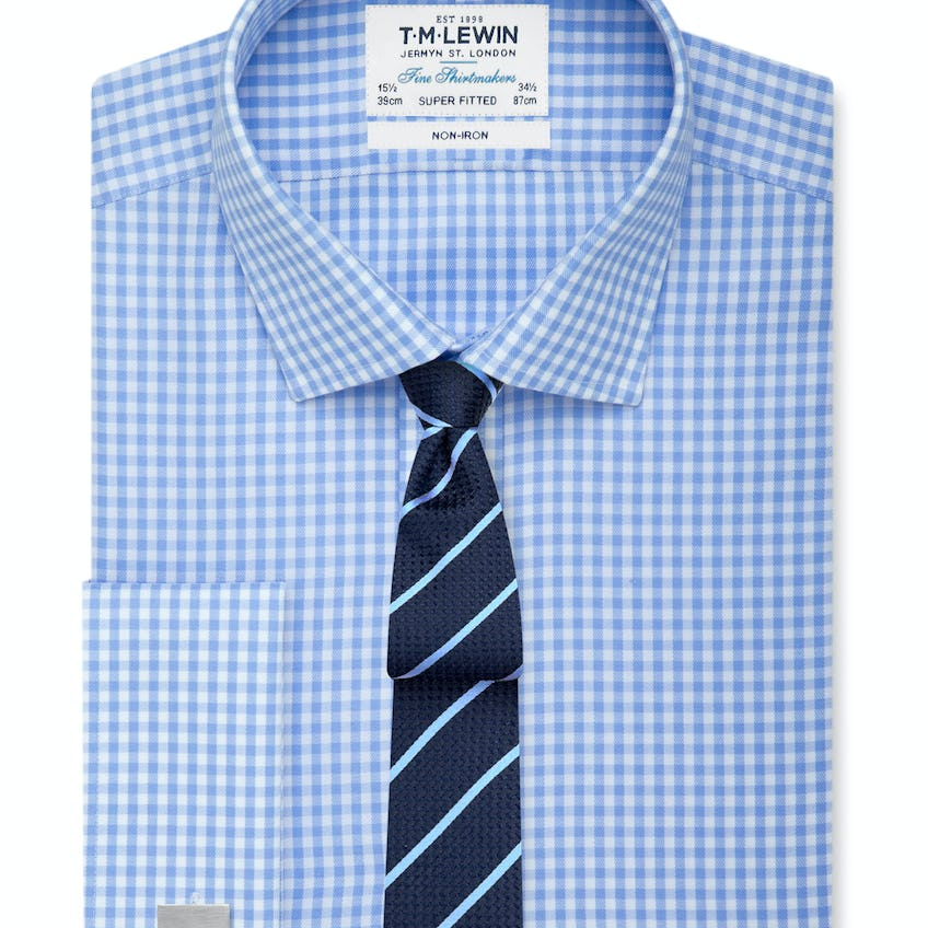 Super Fitted Blue Gingham Double Cuff Shirt 0