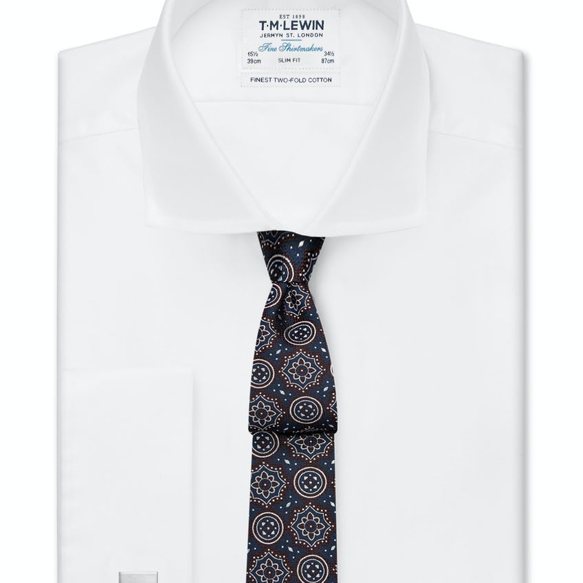 Slim Fit Plain White Luxury Twill Shirt