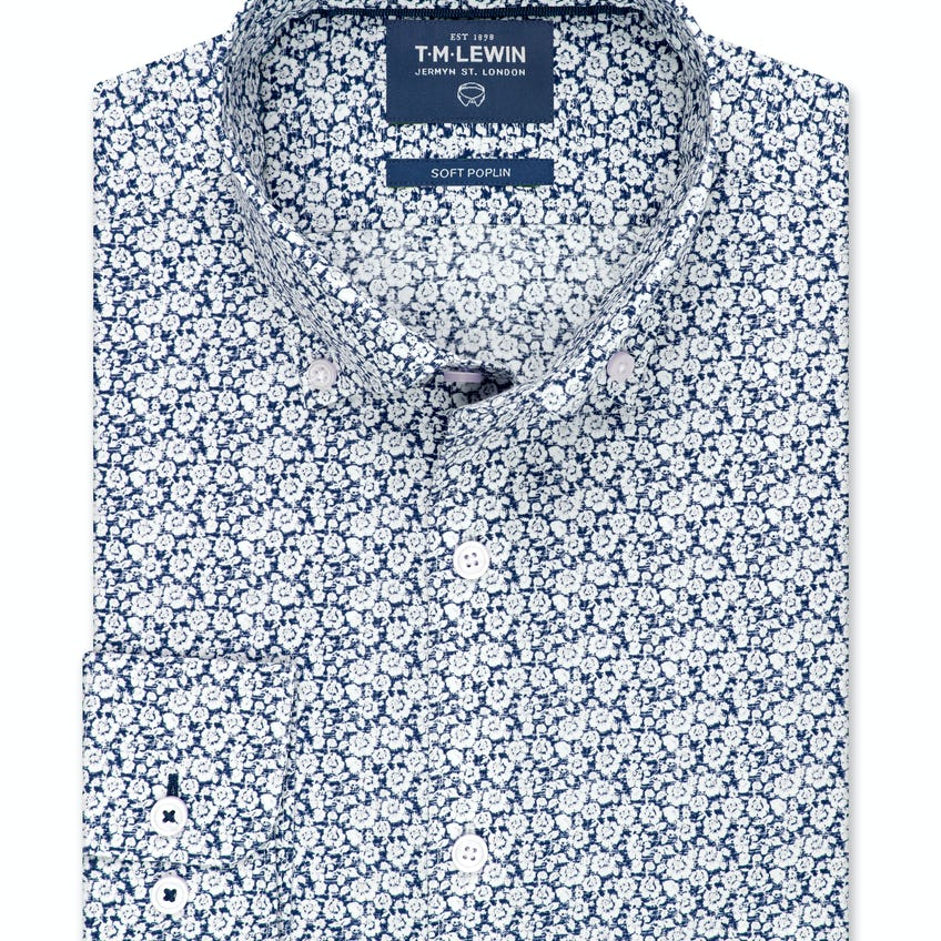Slim Fit Navy Poplin Ditsy Floral Shirt