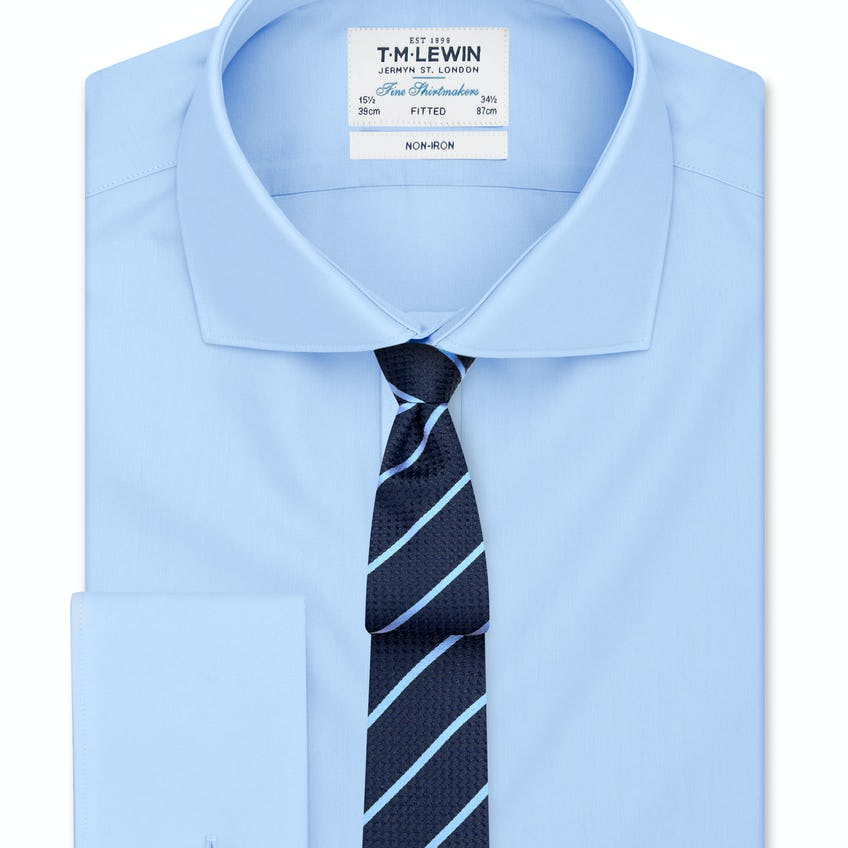 Non-Iron Fitted Blue Poplin Double Cuff Shirt 0