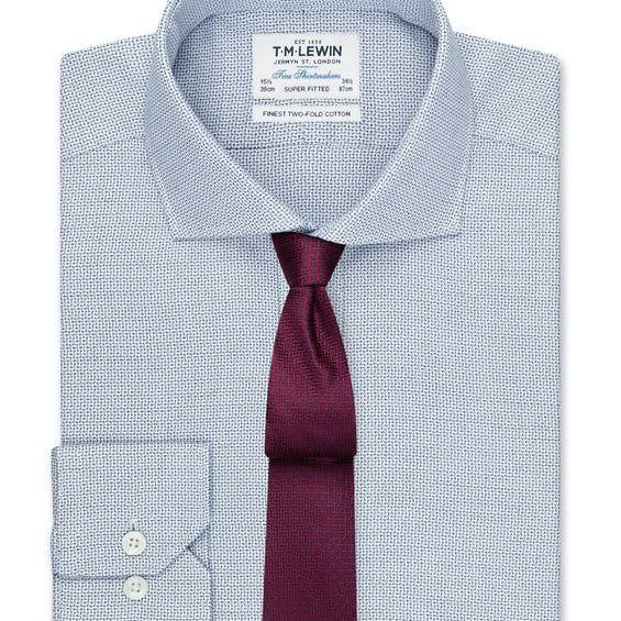 Textured Super Fitted Navy Dual Cuff Shirt 0