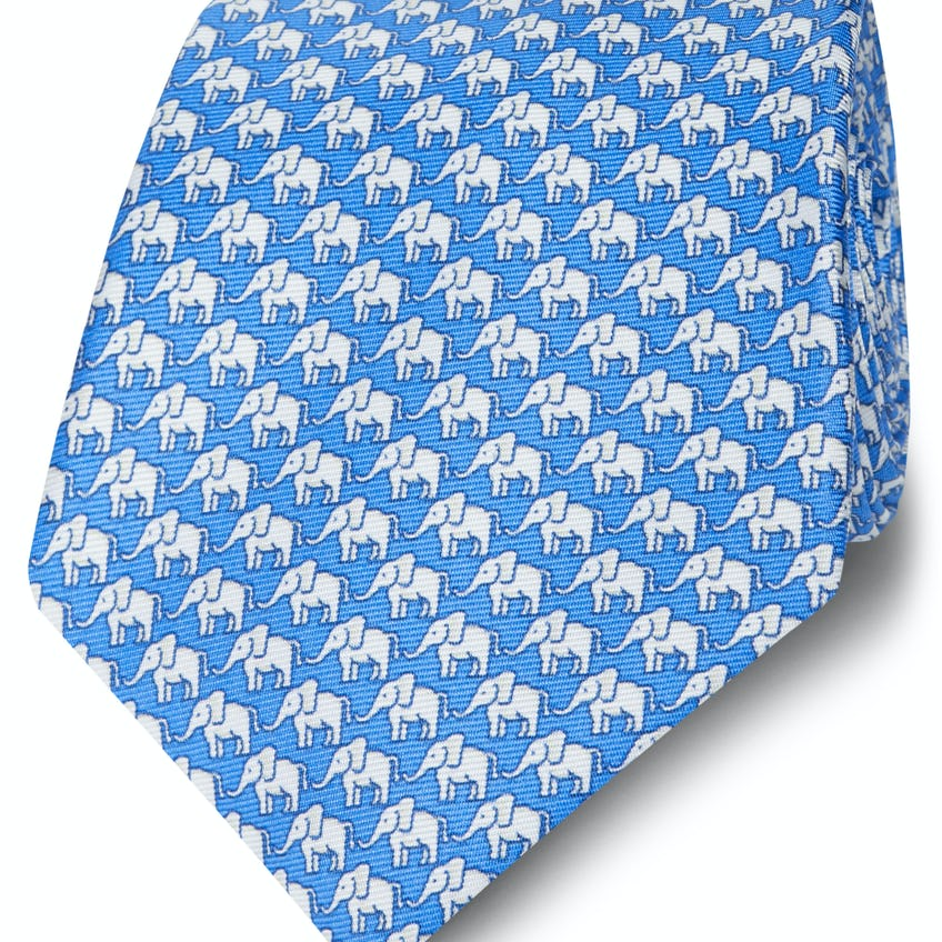 Made in Italy Wide Blue and White Elephant Silk Tie 0