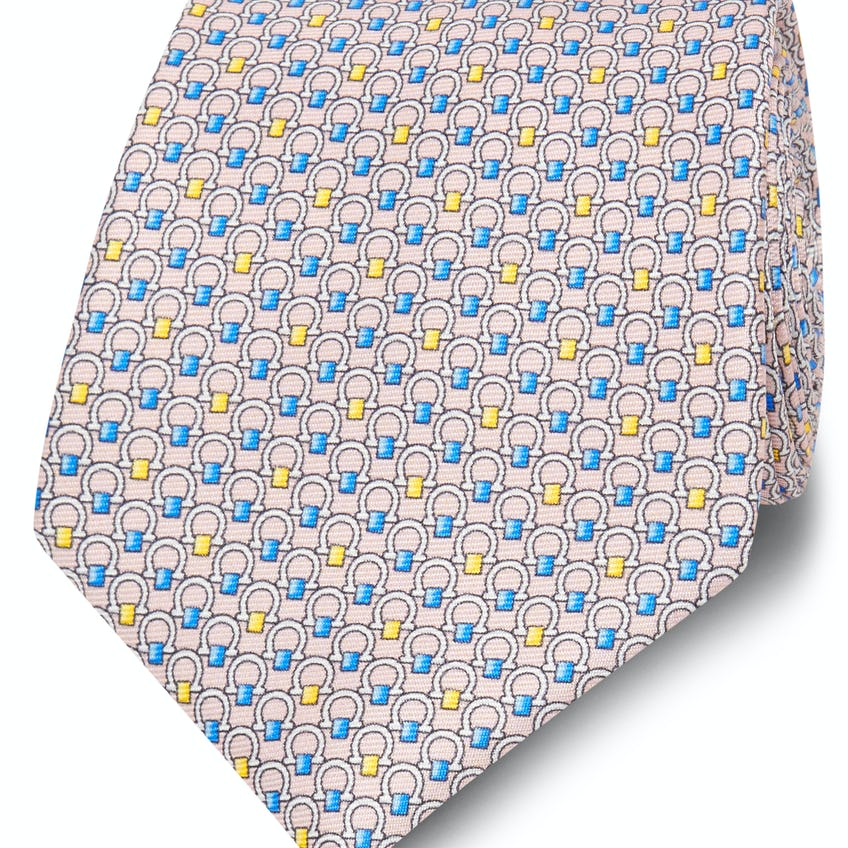 Printed Pink, Yellow and Blue Horseshoe Silk Wide Tie 0