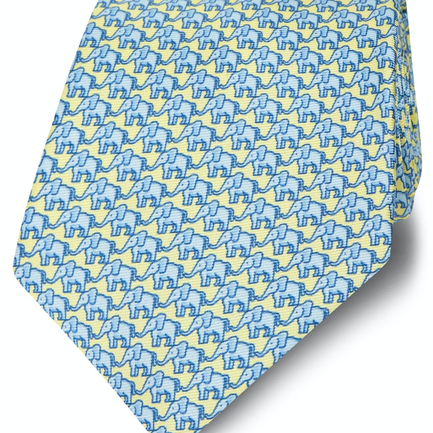 Made in Italy Wide Yellow and Blue Elephant Silk Tie 0