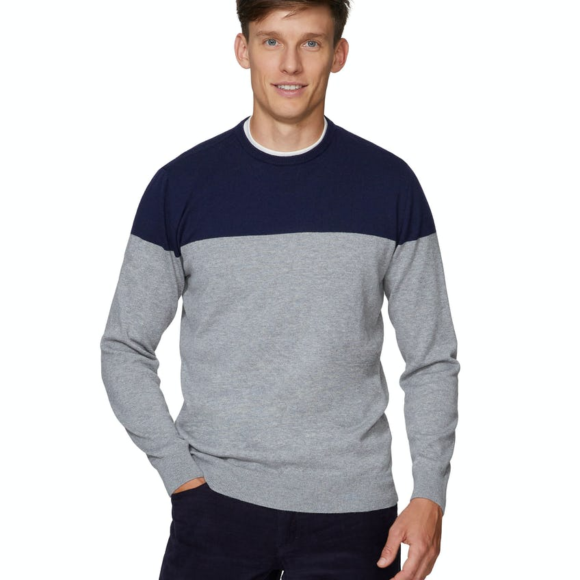 Colour Block Navy and Grey Crew Neck Slim Fit Jumper 0