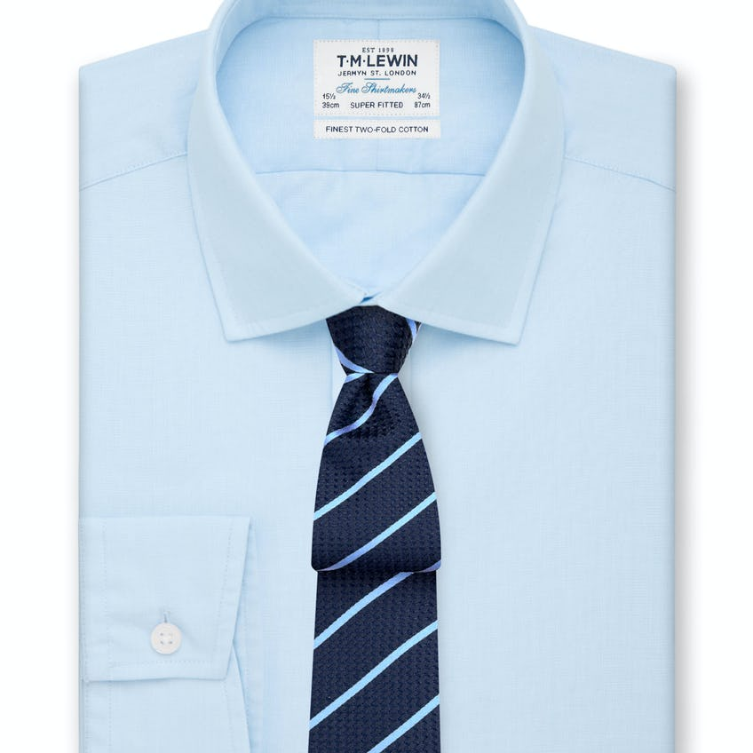 Super Fitted Light Blue End-on-End Button Cuff Shirt