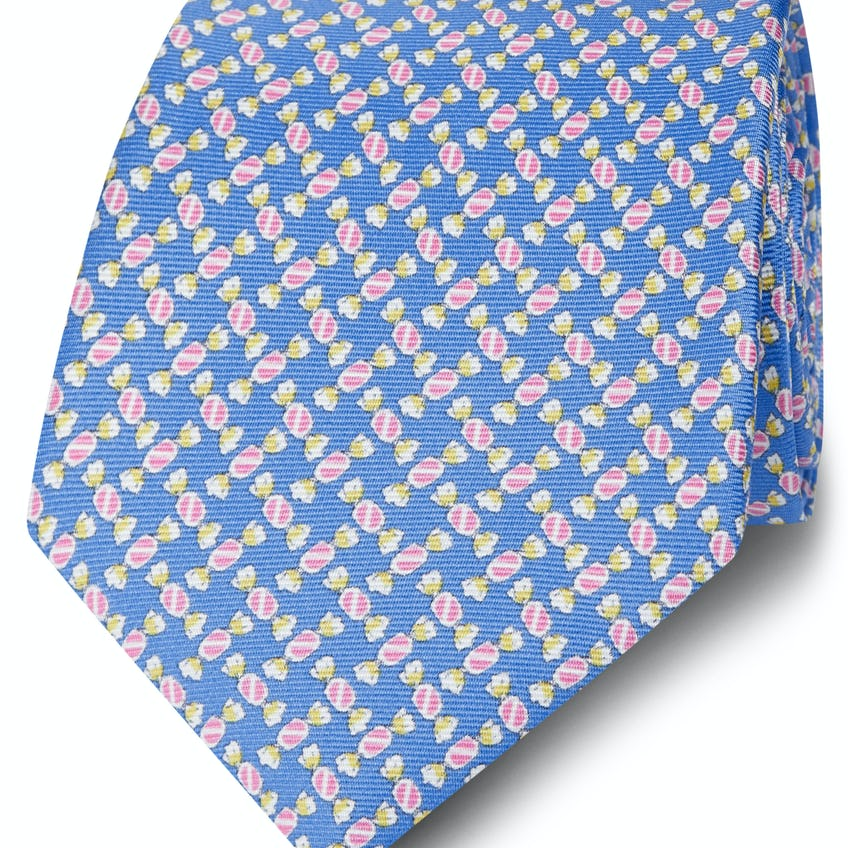 Made in Italy Wide Blue and Pink Sweetie Silk Tie 0