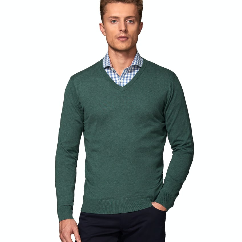 Molton Supima® Cotton Silk Slim Fit Sea Green V-Neck Jumper