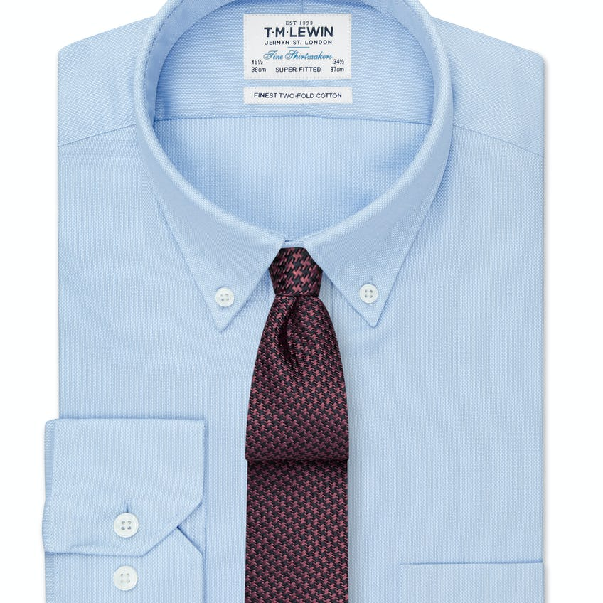 Super Fitted Blue Oxford Button Down Shirt 0
