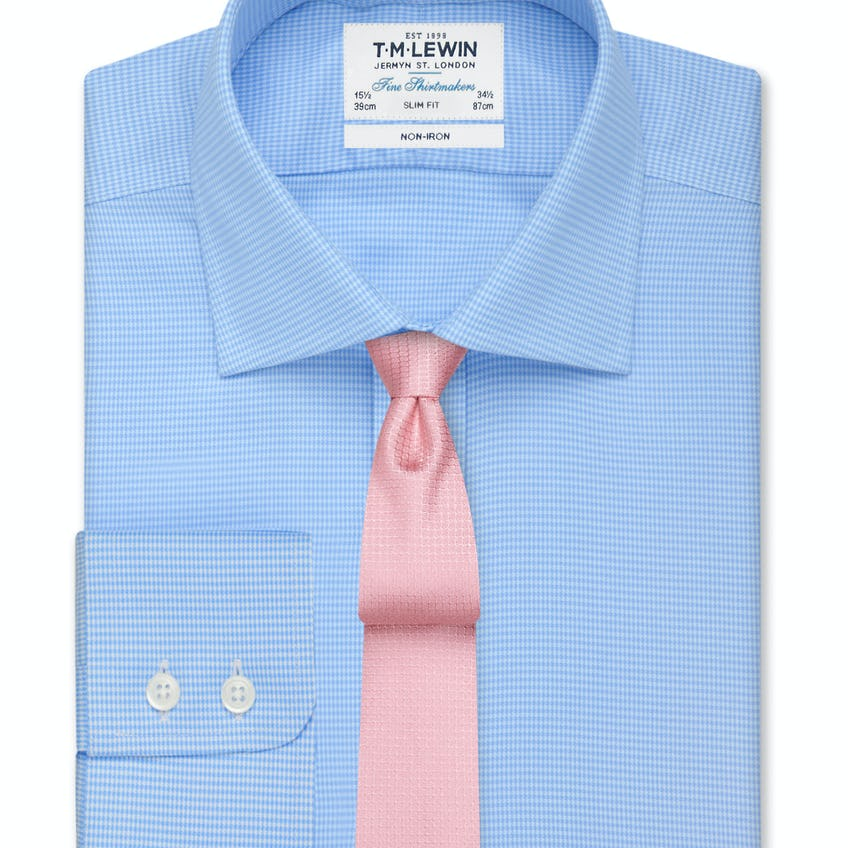Non-Iron Blue Dogtooth Slim Fit Shirt 0