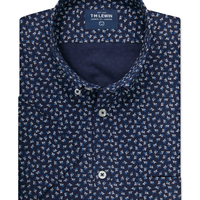 Half Sleeve Fitted Navy and White Floral Print Shirt 0