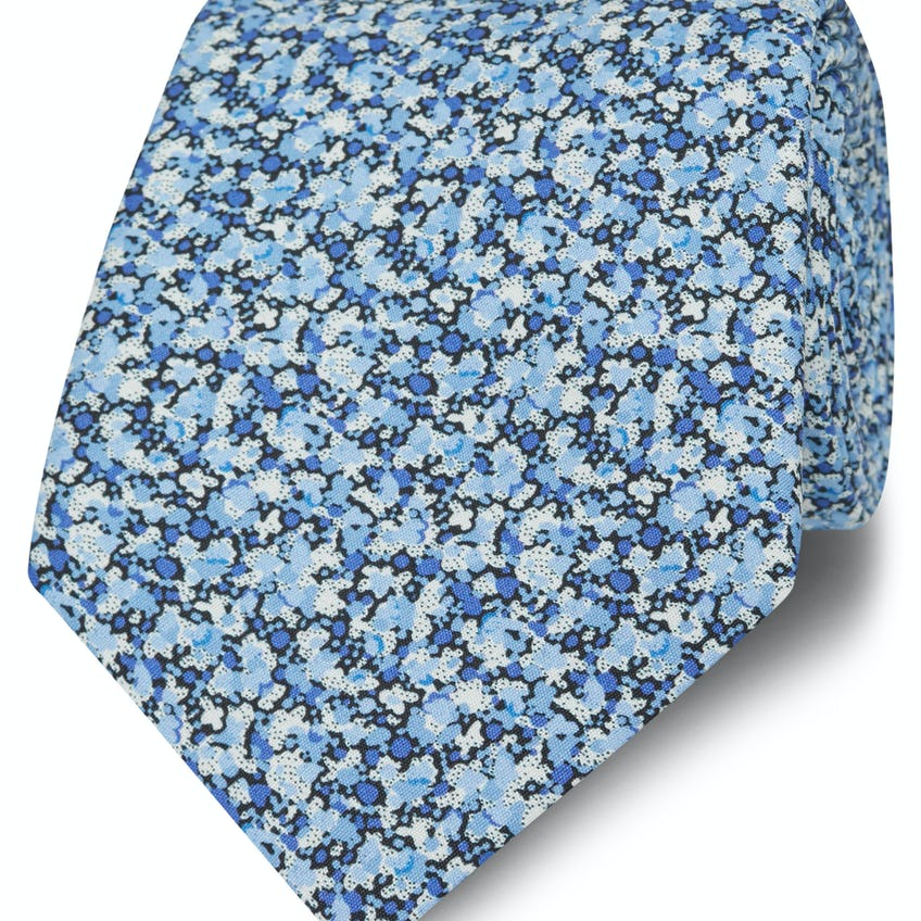 Made with Liberty Fabric Blue Pepper Print Tie 0