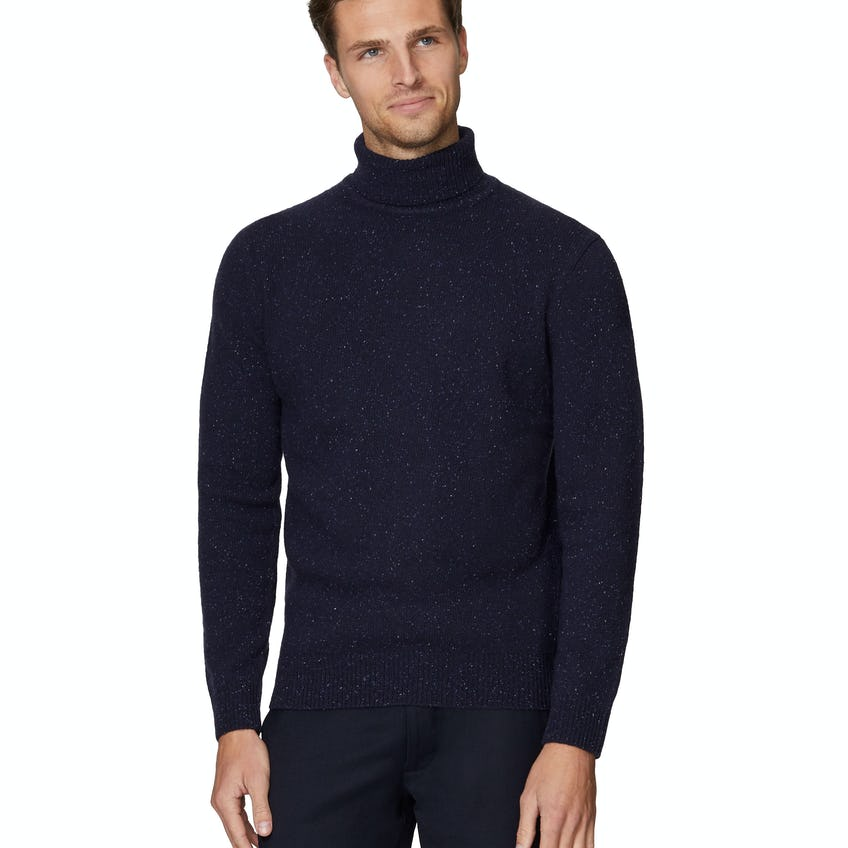 Donegal Lambs Wool Navy Roll Neck Slim Fit Jumper 0