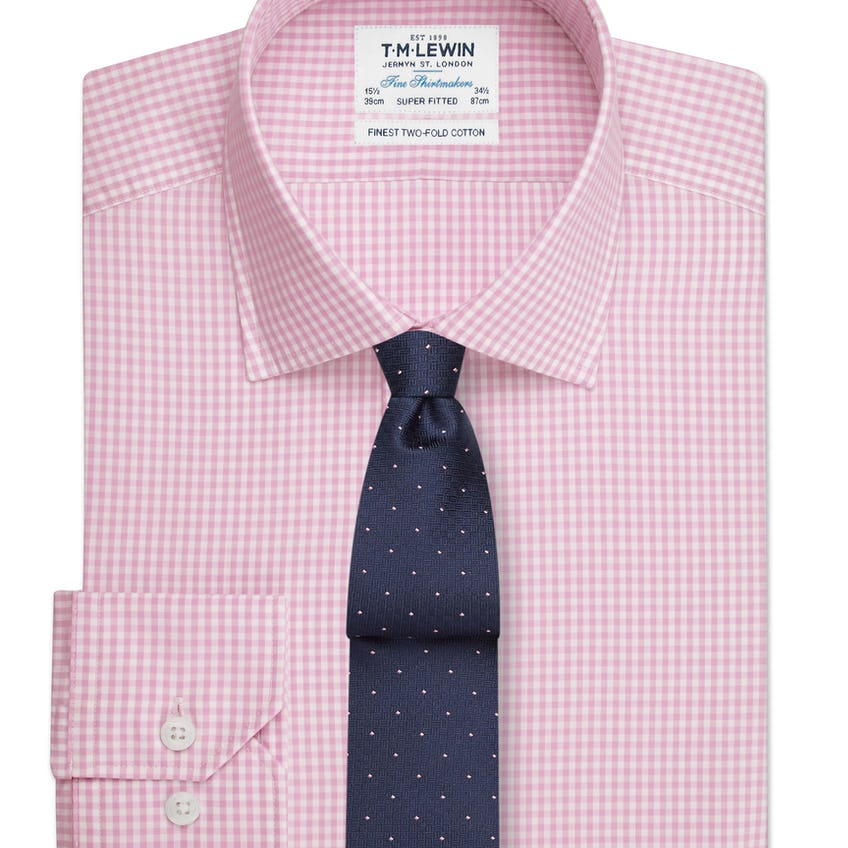 Super Fitted Pink Gingham Button Cuff Shirt 0
