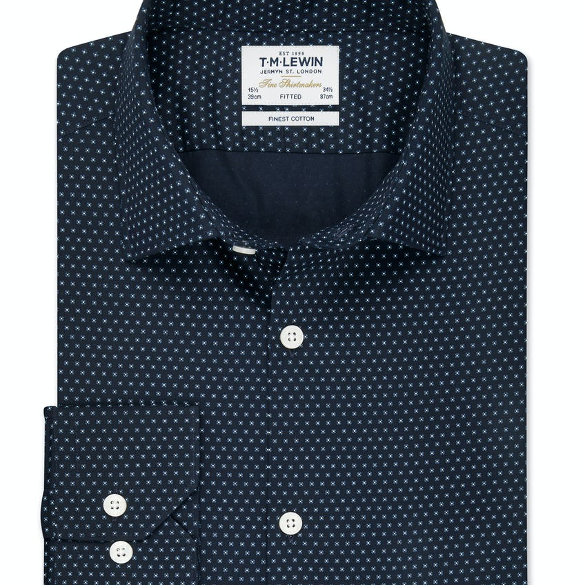 Fitted Navy and White Dot Shirt 0
