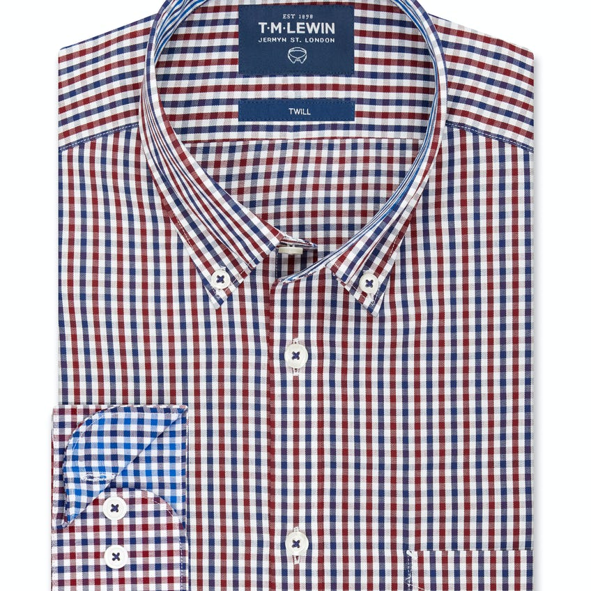 Twill Slim Fit Navy and Red Gingham Shirt 0