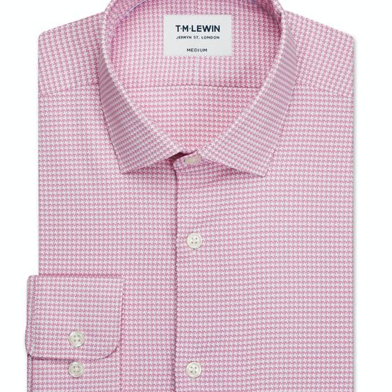 Travel Collection Slim Fit Pink Dogtooth Button Cuff Shirt 0