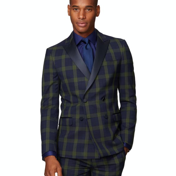 Dylan Skinny Fit Green and Navy CheckJacket 0