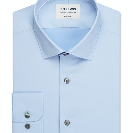Travel Collection Slim Fit Sky Blue Button Cuff Shirt 0