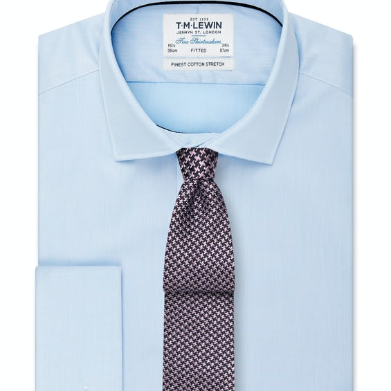 Stretch Cotton Fitted Sky Blue Double Cuff Shirt 0