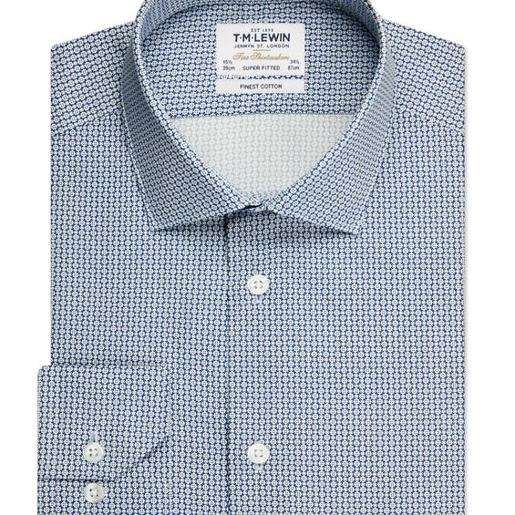 Mini Geo Super Fitted Navy and White Single Cuff Shirt 0