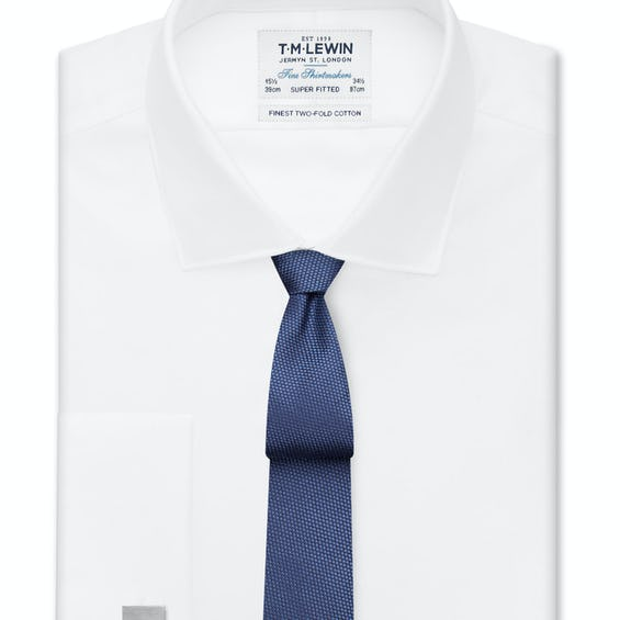 Super Fitted White Twill Double Cuff Shirt 0