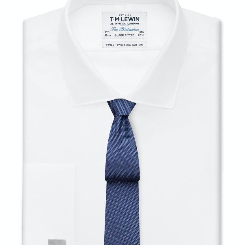 Super Fitted White Twill Double Cuff Shirt