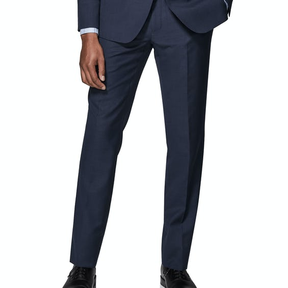 Costello Skinny Fit Navy Textured Trousers 0