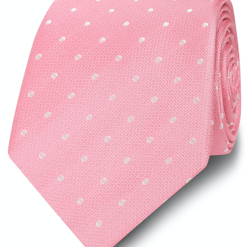 Wide Pink and White Spot Silk Tie 0