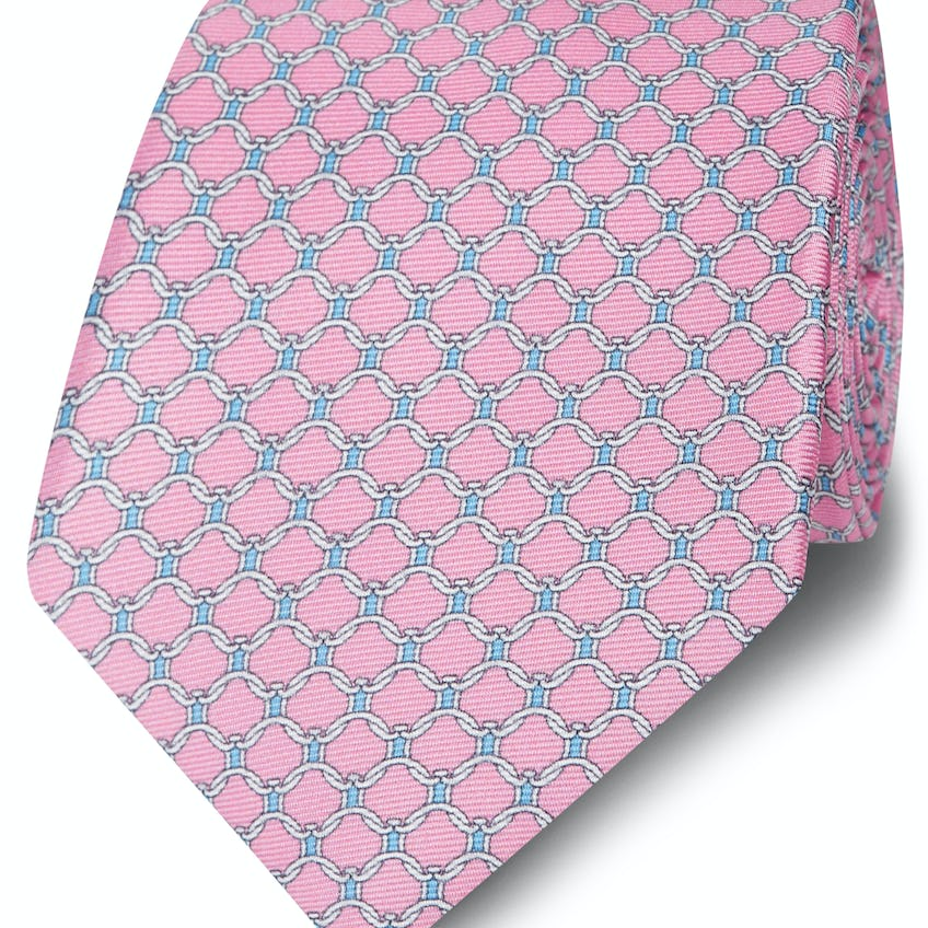 Made in Italy Wide Pink, Blue and White Chain Link Tie 0