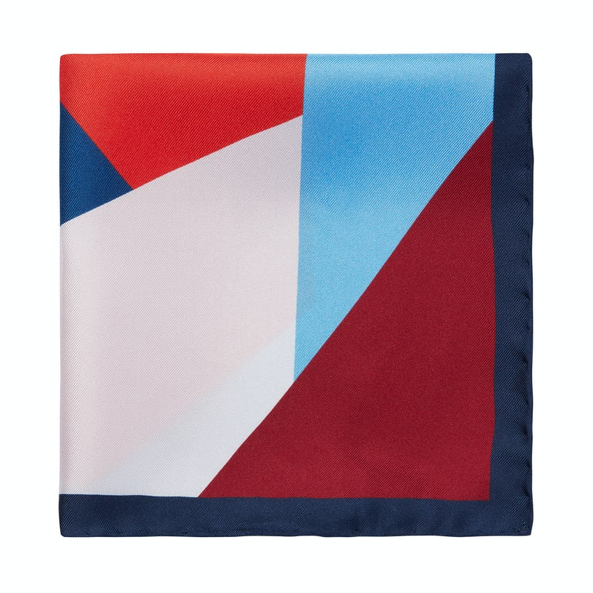 Silk Navy and Red Colour Blocked Pocket Square 0