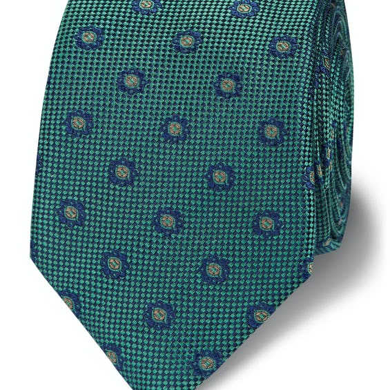 Slim Green and Navy Woven Floral Silk Tie 0