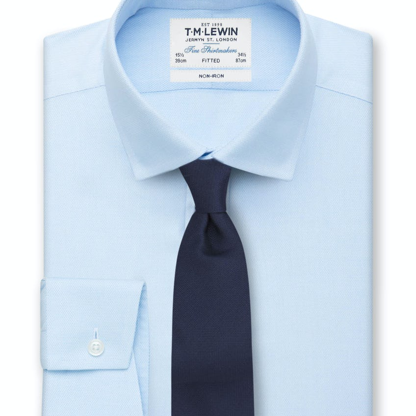 Non-Iron Fitted Blue Oxford Button Cuff Shirt 0