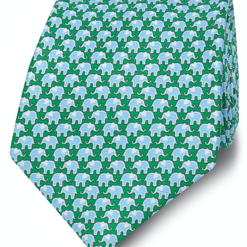 Printed Green and Blue Elephant Silk Wide Tie 0