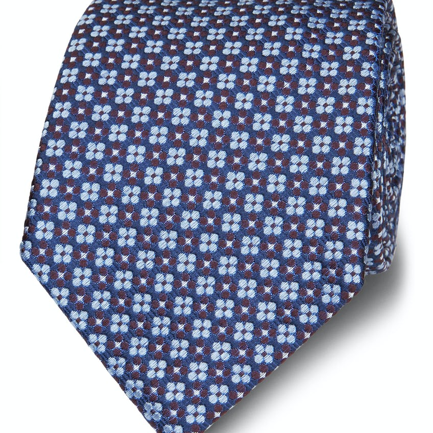 Burgundy and Blue Floral Jacquard Silk Wide Tie 0
