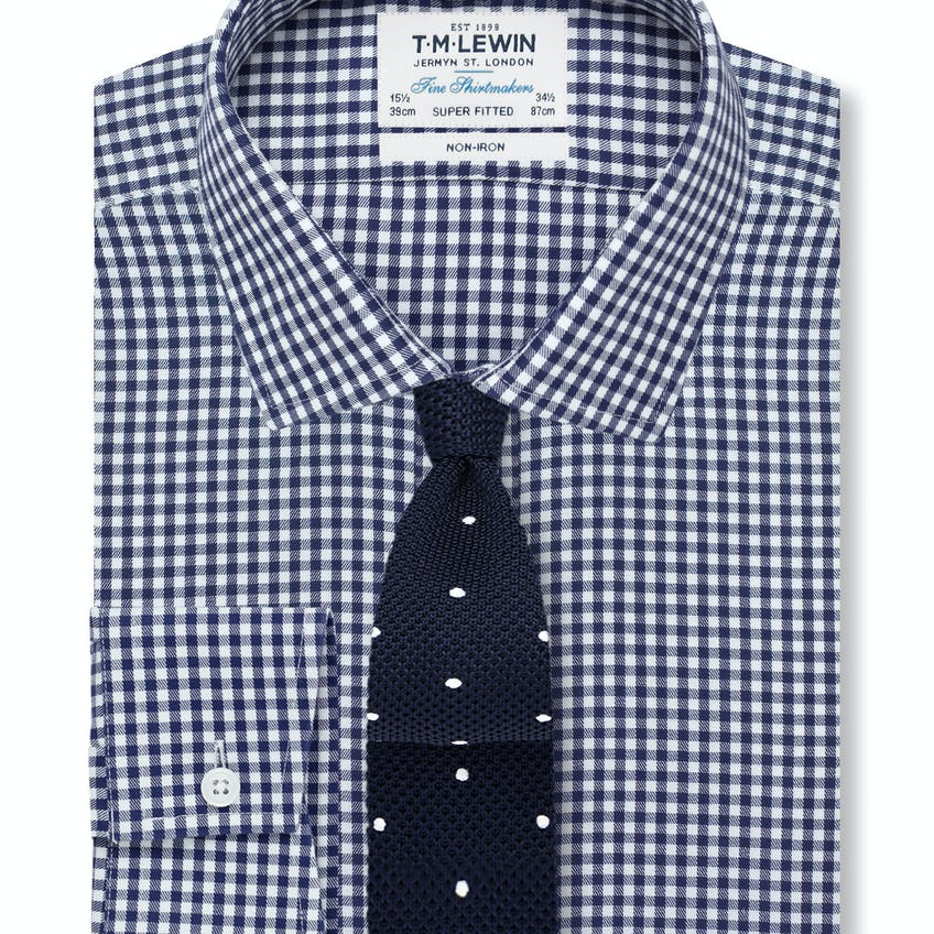 Non-Iron Navy Gingham Super Fitted Shirt 0