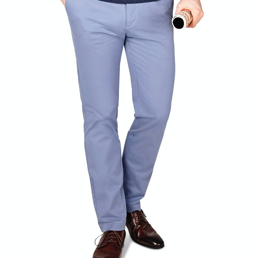 Radcliffe Slim Fit Mid Blue Cotton Stretch Chino 0