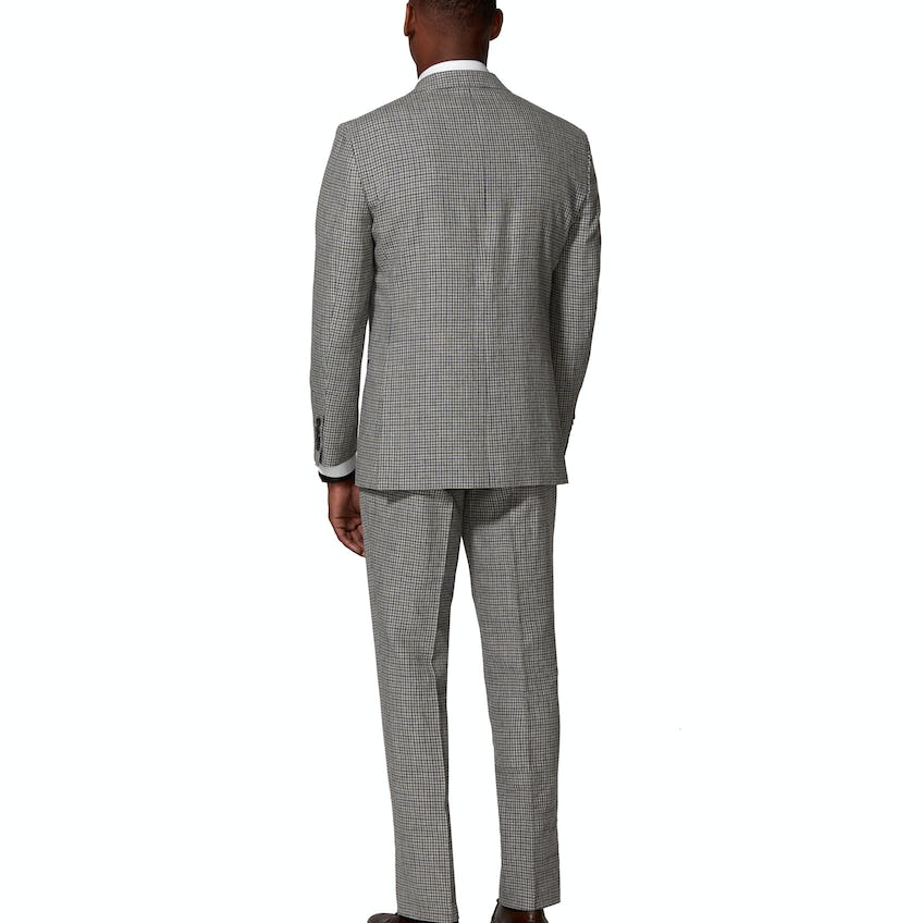 Ravello Italian Summer Slim Fit Grey and Navy Microcheck 3 Piece Suit 0