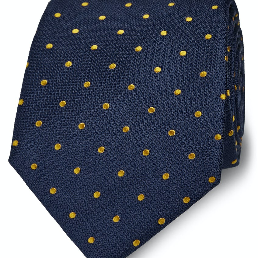 Wide Navy and Yellow Spot Silk Tie 0