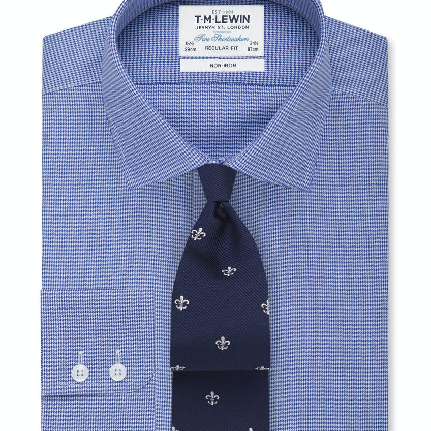Non-Iron Navy Dogtooth Regular Fit Shirt